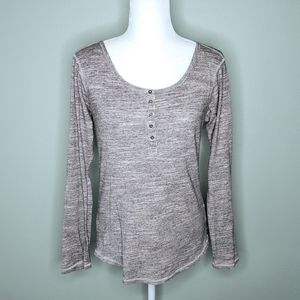 Scotch & Soda long sleeve heather gray henley top
